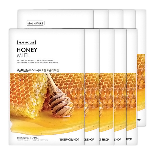 Combo 10 Mặt Nạ Giấy The Face Shop Real Nature Honey Face Mask (20g)