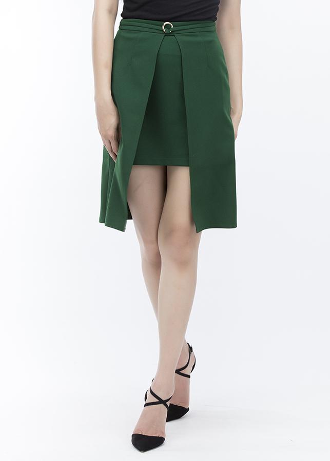 Váy Nữ Có Khuy Chân Váy Nữ Cách Điệu 7VN06 - Xanh Lá Đậm