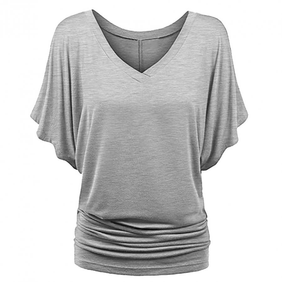 New Women Loose T-shirt Ruched V-Neck Batwing Short Sleeves Solid Casual Top - 9867213 , 1052916472692 , 62_19357681 , 261000 , New-Women-Loose-T-shirt-Ruched-V-Neck-Batwing-Short-Sleeves-Solid-Casual-Top-62_19357681 , tiki.vn , New Women Loose T-shirt Ruched V-Neck Batwing Short Sleeves Solid Casual Top