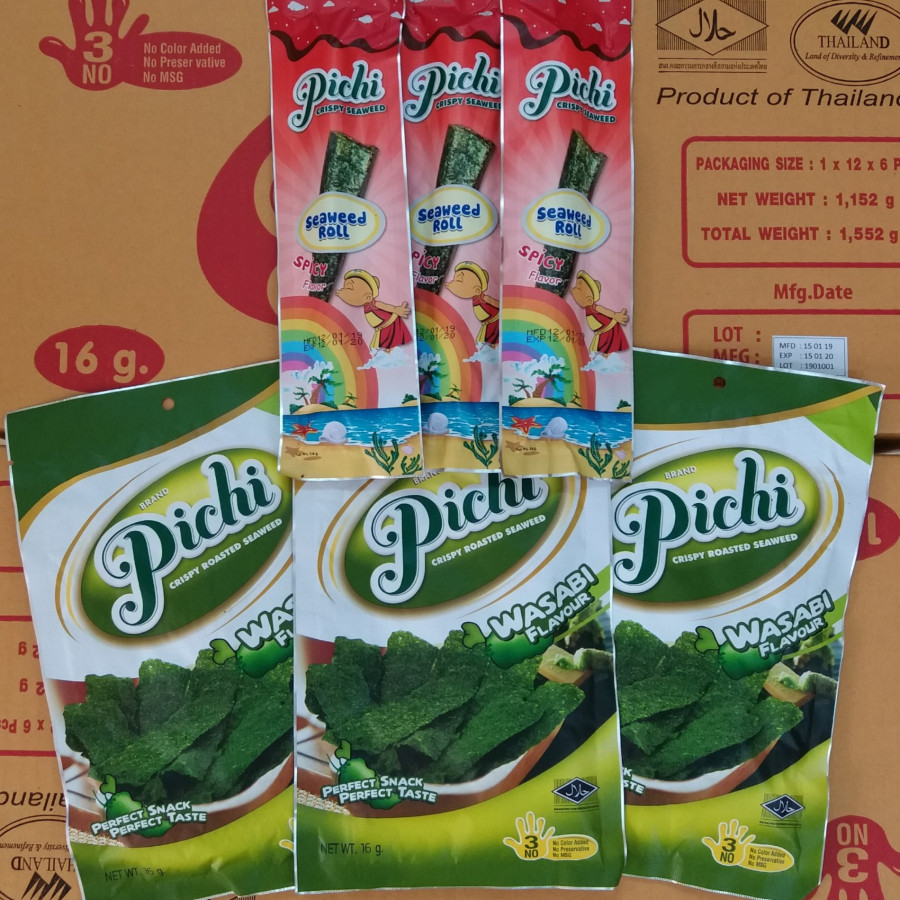 Combo snack 3 gói roll vị cay và 3 gói seaweed vị Wasabi Pichi