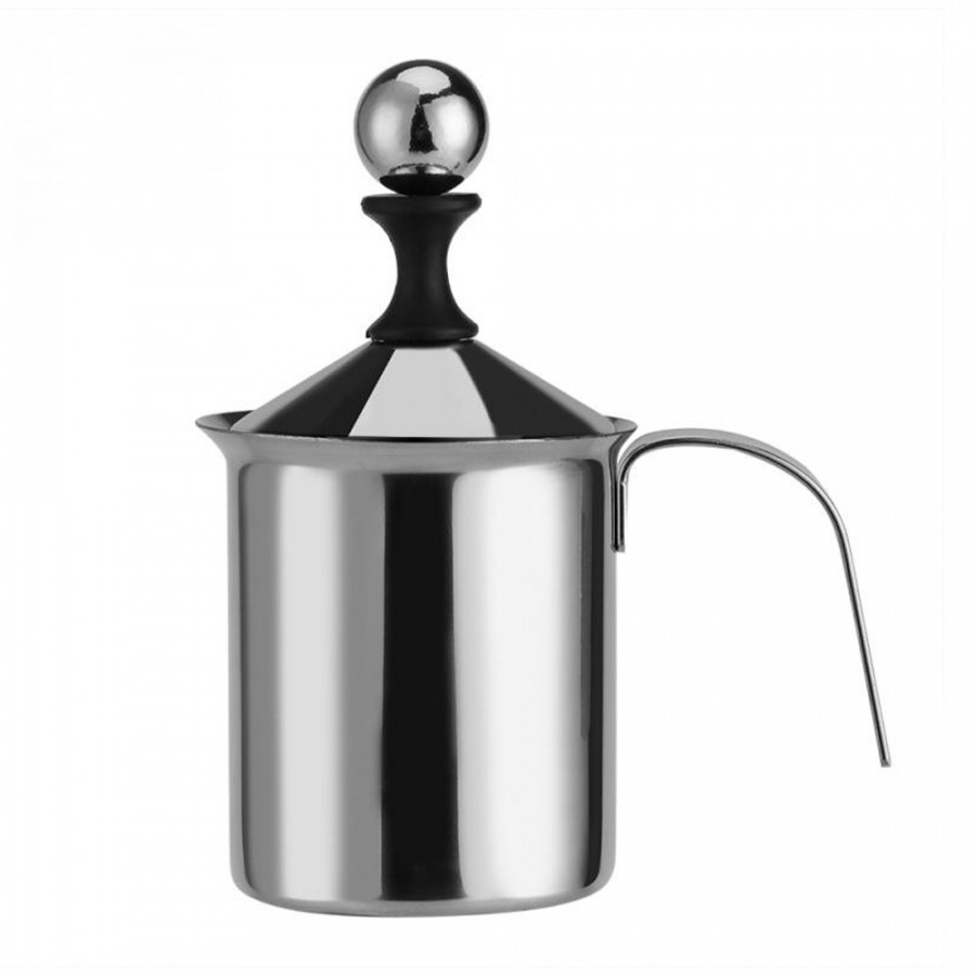 Manual Milk Frother Hand Pump Unique Stainless Steel 400ML/800ML Double Mesh Coffee