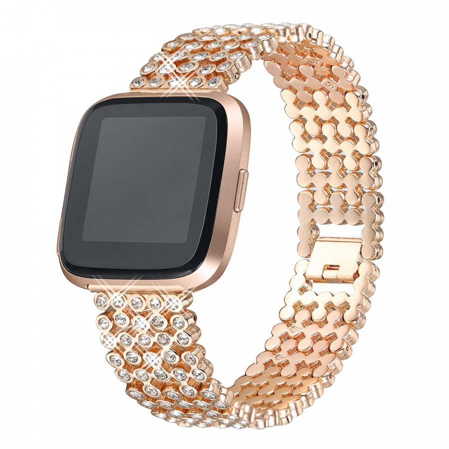 SDXHJ016 Watch Bracelet Fitbit Strap Classic Link Bracelet Replacement Wristband for Fitbit Versa with Rhinestones