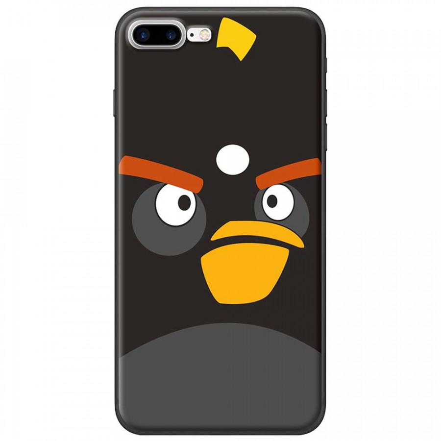 Ốp lưng dành cho iPhone 7 Plus mẫu Mặt Angry bird đen