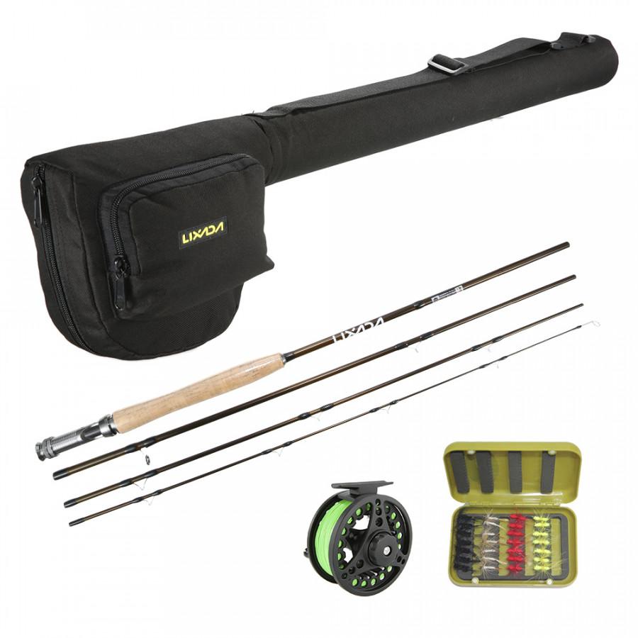 Lixada Lightweight Portable Fishing Rod Reel Combo Kit Set Fishing Starter Package 4-Piece Fly Fishing Rod Pole with