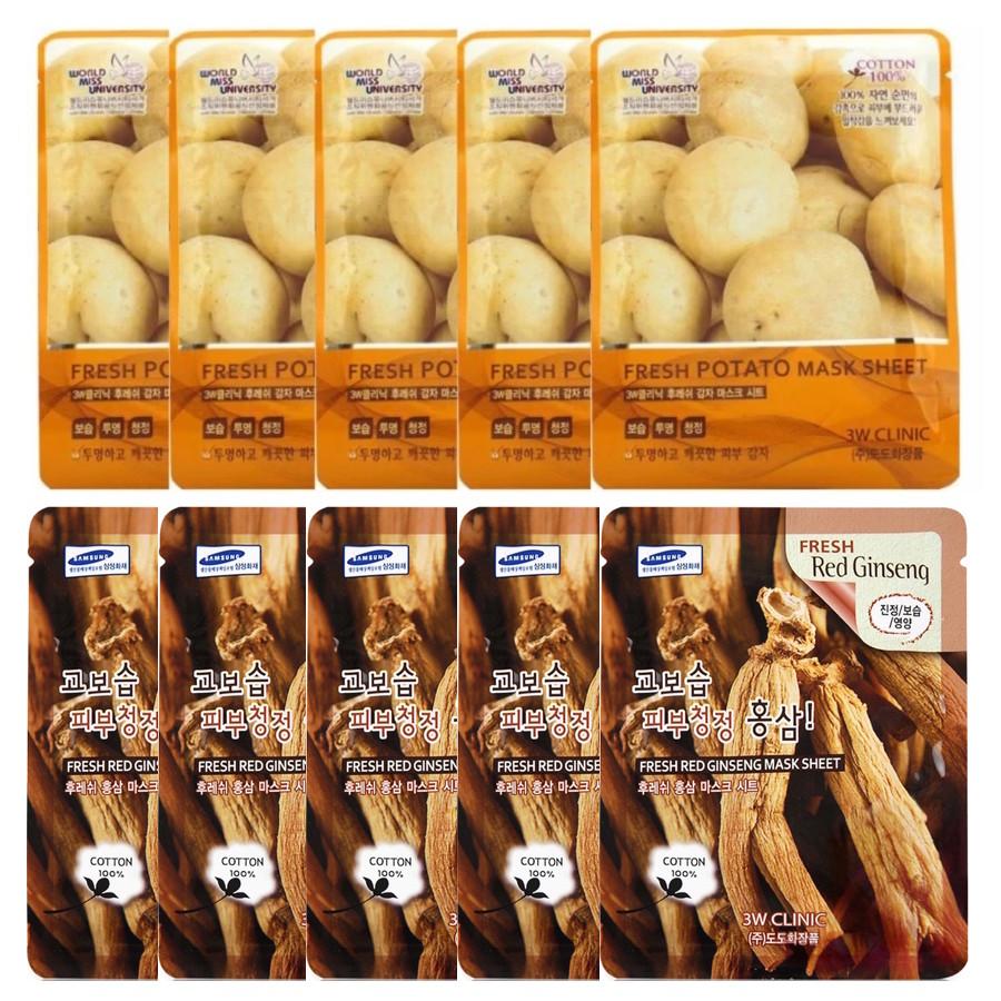 Combo 5 Gói Mặt Nạ Khoai Tây Dưỡng Trắng Da + 5 Gói Mặt Nạ Nhân Sâm Chống Lão Hoá 3w Clinic (23ml/Miếng) - 1424623 , 7239390764596 , 62_7330719 , 150000 , Combo-5-Goi-Mat-Na-Khoai-Tay-Duong-Trang-Da-5-Goi-Mat-Na-Nhan-Sam-Chong-Lao-Hoa-3w-Clinic-23ml-Mieng-62_7330719 , tiki.vn , Combo 5 Gói Mặt Nạ Khoai Tây Dưỡng Trắng Da + 5 Gói Mặt Nạ Nhân Sâm Chống Lão