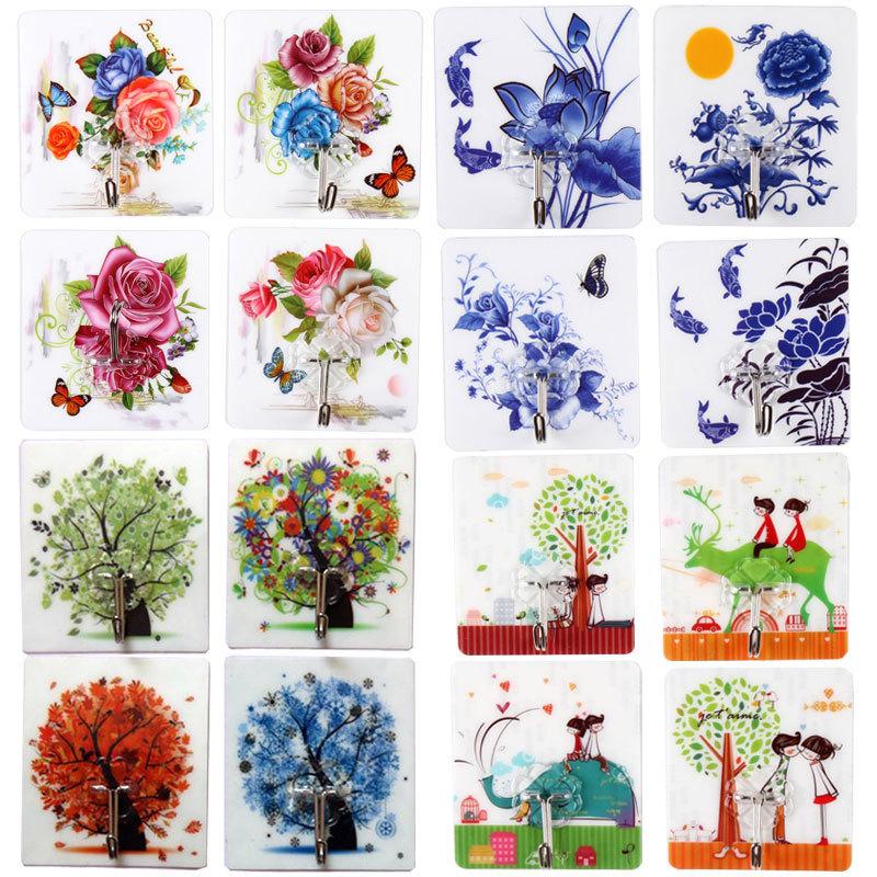 Bộ 16 loại (8x9) móc treo dán tường chịu lực 10kg nhiều màu sắc hình ảnh đẹp giao tùy chọn