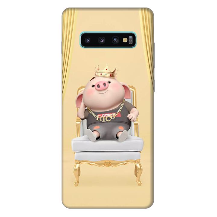 Ốp lưng nhựa cứng nhám dành cho Samsung Galaxy S10 Plus in hình Heo Quý Tộc