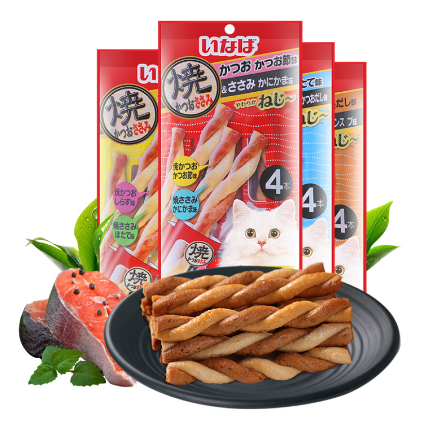 Inabao (INABA) cat snacks wonderful good wet food twist series clean teeth molar chicken meat strips squid flavor and crab meat stick 4 * 4 packs