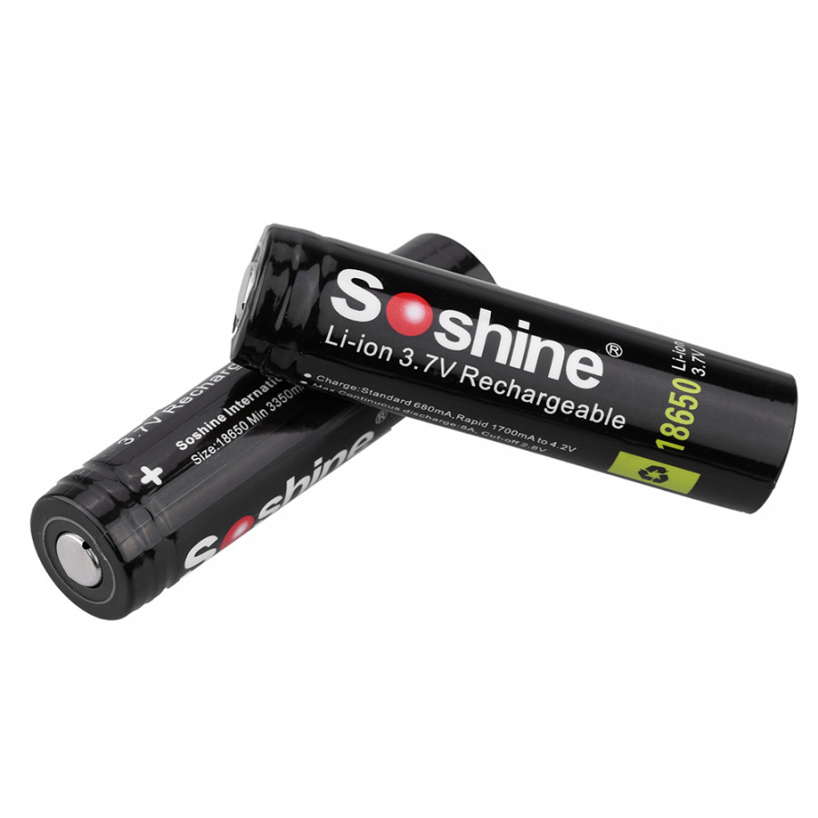 Soshine 2pcs 18650 3.7V 3400mAh Rechargeable Li-ion Lithium Battery with PCB Protected Board for LED Flashlight Torch
