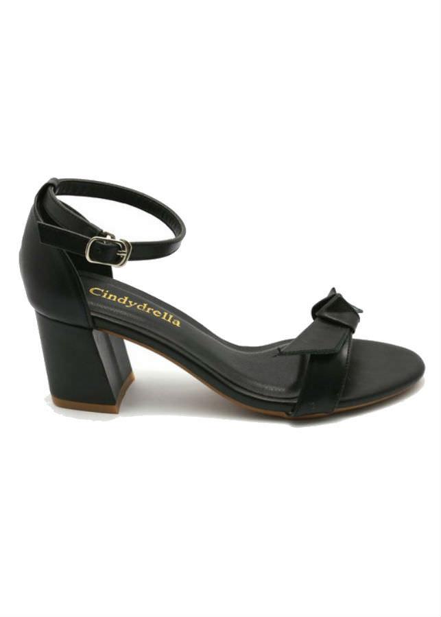 Giày Sandal Nữ Cao Gót Quai Nơ Cindydrella C140D - Đen