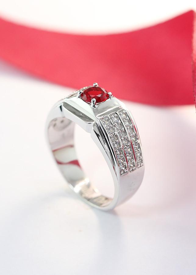 Nhẫn bạc nam đẹp đính đá đỏ NNA0046