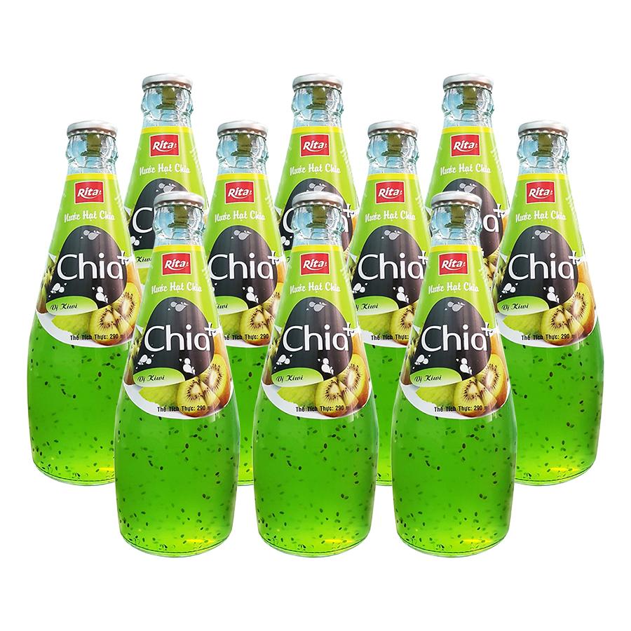 Thùng 24 chai CHIA+ Nước Ép Trái Cây Hạt Chia vị Kiwi (290ml x24 Chai)
