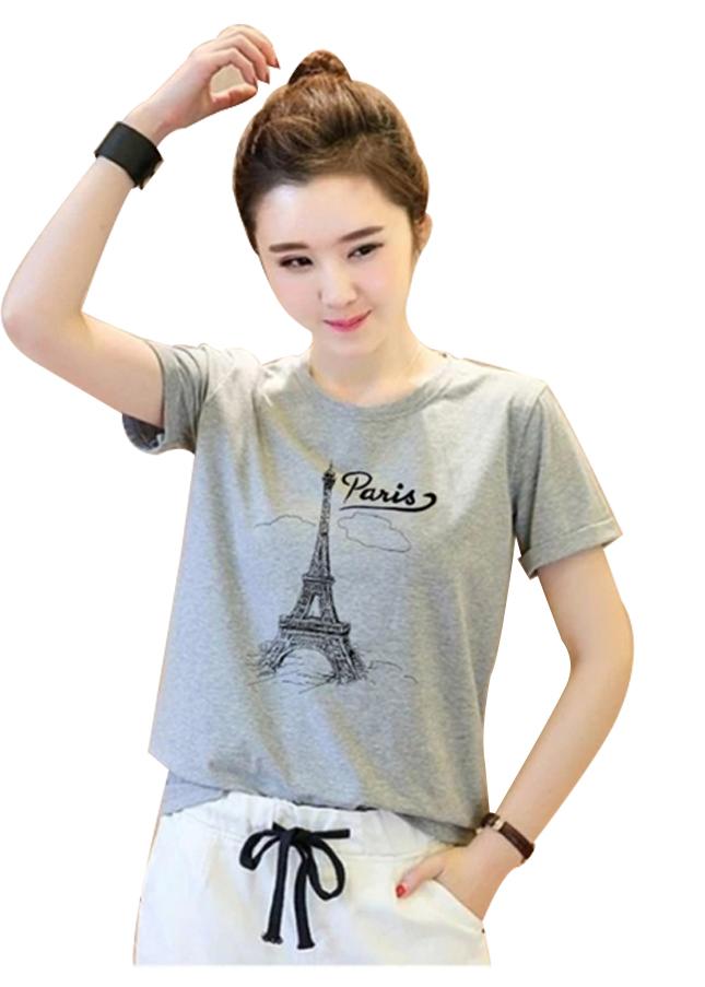 Áo thun nữ paris mây xám d636 thương hiệu Td