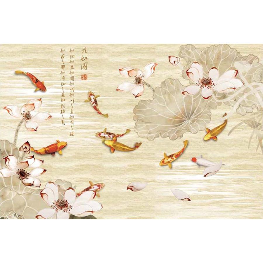 Tranh dán tường phong thủy hoa sen cá chép 3d 299