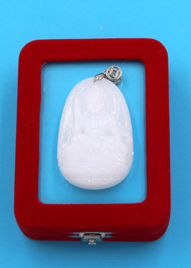 Mặt dây chuyền Văn Thù Bồ Tát trắng 5cm kèm hộp nhung