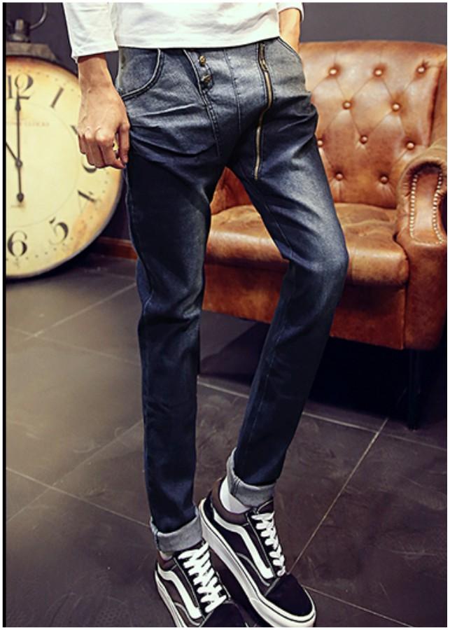Quần jeans dây kéo xéo phối màu Mã: ND0881 - XANH