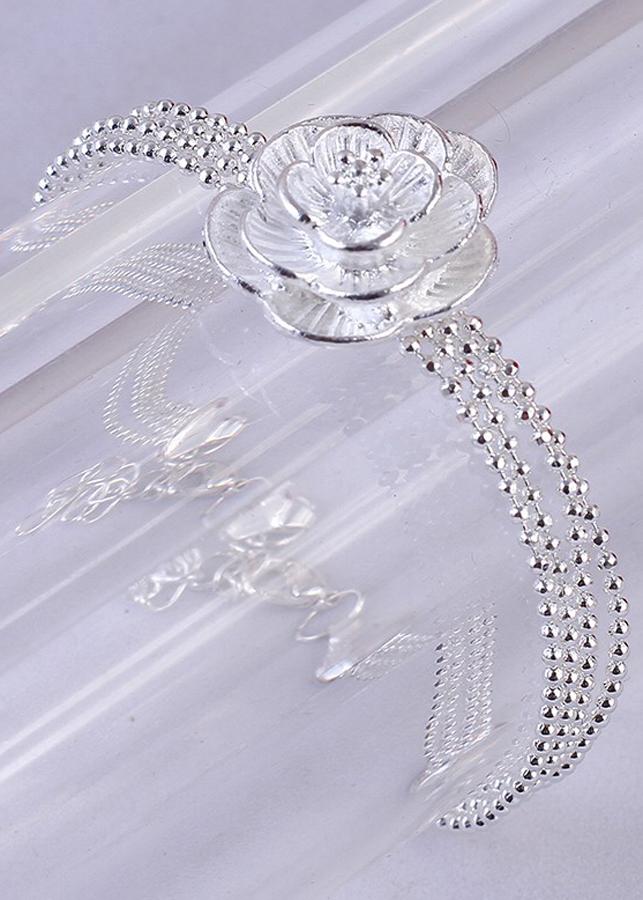 Lắc chân thời trang cao cấp ánh bạc hoa mai trắng MK40