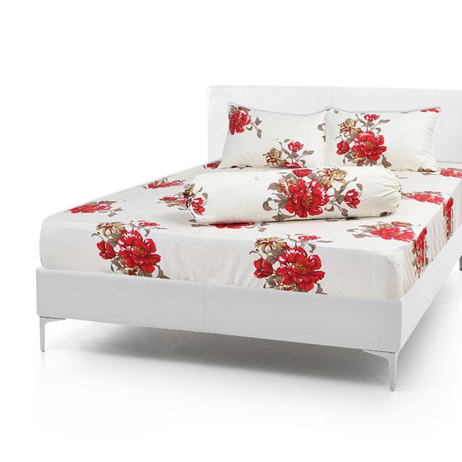 Bộ Drap Cotton Vải Thắng Lợi Áo Gối Chần Gòn 1,8x 2m hoa đỏ lá nâu
