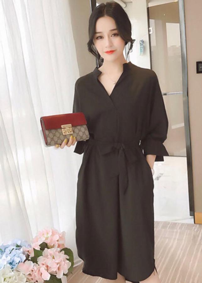 đầm suông đen tay bí ( dưới 65kg)XDS256