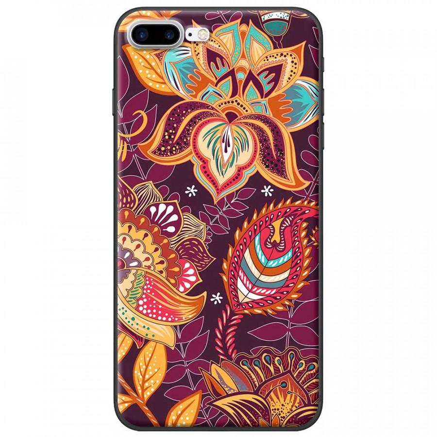Ốp lưng dành cho iPhone 7 Plus mẫu Hoa văn hoa sen lá tím