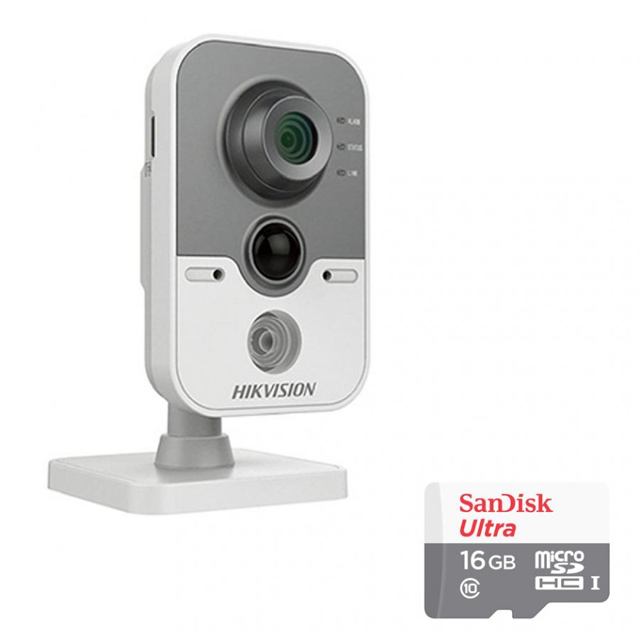 Camera IP Cube DS-2CD2420F-IW Hikvision 2.0MP Và Thẻ Nhớ 16GB - Tặng Kèm Tai Nghe Bluetooth