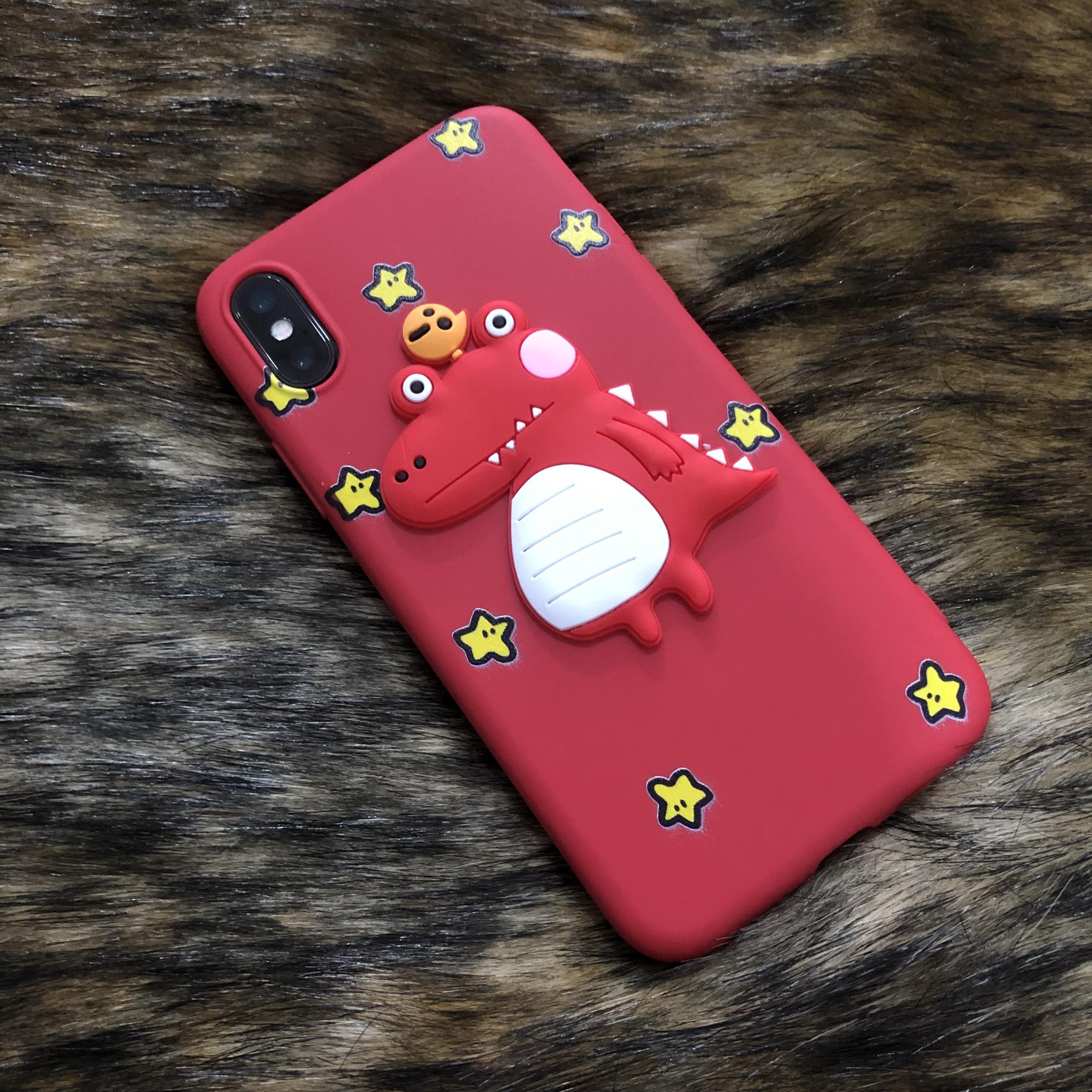 Ốp Dẻo TPU Hình Khủng Long Nổi Dành Cho Iphone - Màu Đỏ