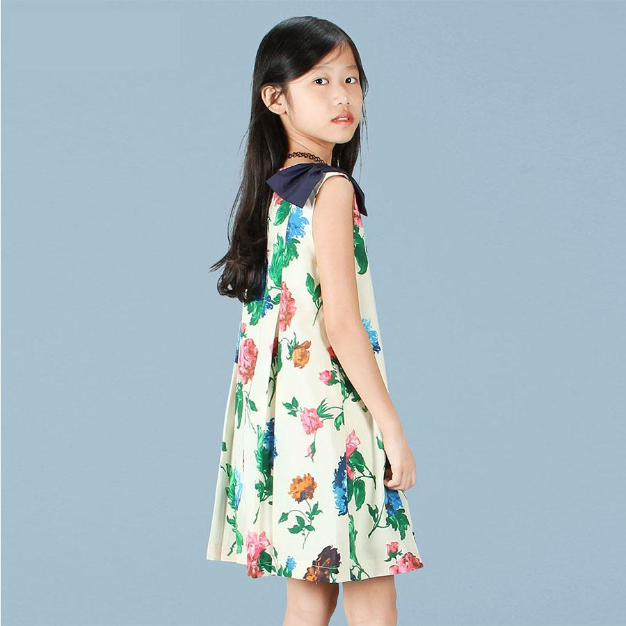 Váy công chúa in hoa nơ vai