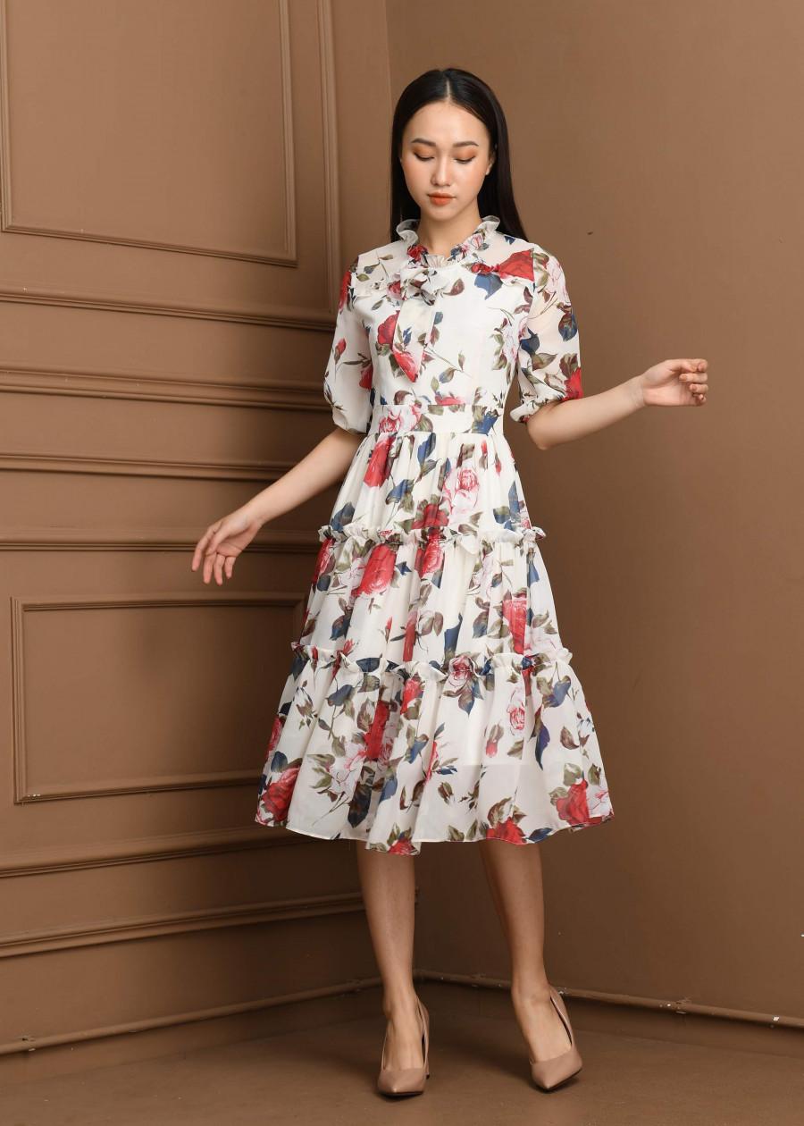 Váy voan tơ hoa to  VF2019013