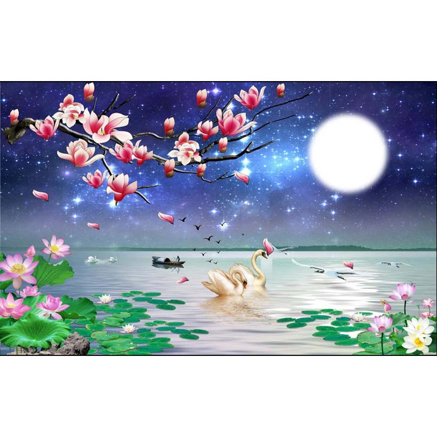 Tranh dán tường 3d | Tranh dán tường phong thủy hoa sen cá chép 3d 317