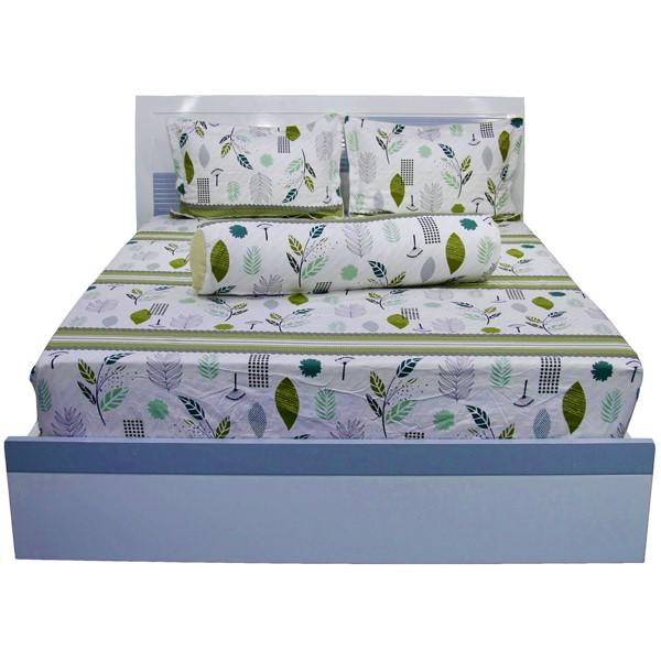 Bộ ga drap cotton hoa Hometex - 180 x 200 x 25cm Mẫu 8