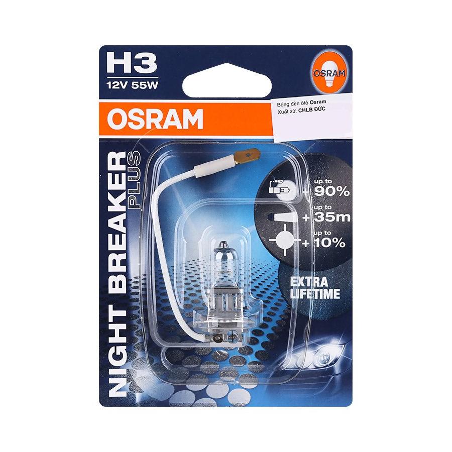 Bóng Đèn Ô Tô Osram H3 Night Breaker Plus (55W) - Xanh