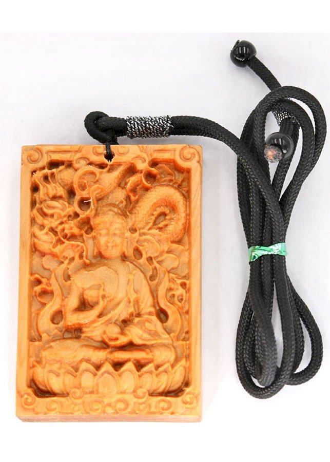 Vòng cổ gỗ ngọc am khắc hình Phật A Di Đà DMG7B
