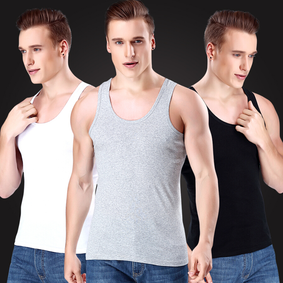 Yu Zhaolin Men's Vest Men's Cotton Vest Bottom Shirt Sports Slim Pants White Gray Black 3 Pack XL