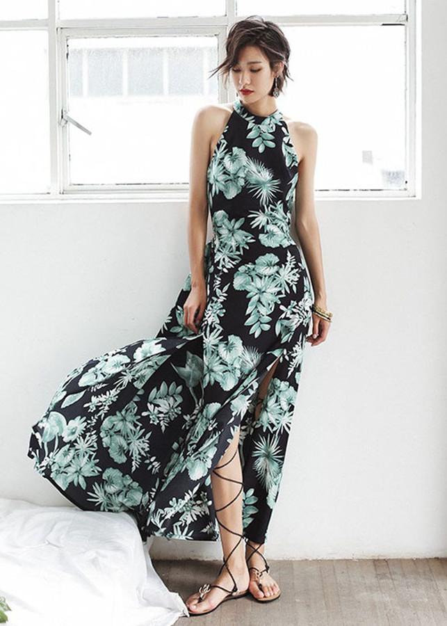 Đầm maxi hoa hở lưng ADLMOND DRESS