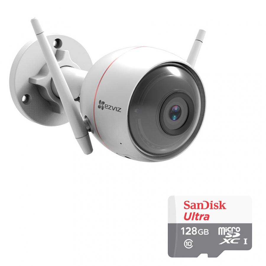 Camera Wifi Ngoài Trời  EZVIZ Husky Air CS-CV310 1080p 2.0MP Và Thẻ Nhớ 128GB - Tặng Kèm Tai Nghe Bluetooth