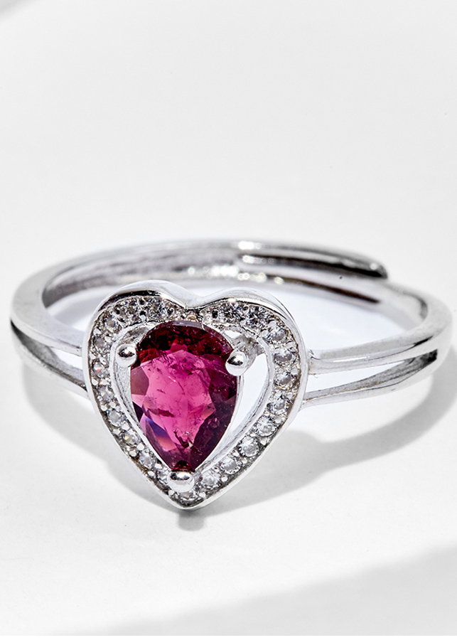 Nhẫn Tourmaline viền trái tim Ngọc Quý Gemstones