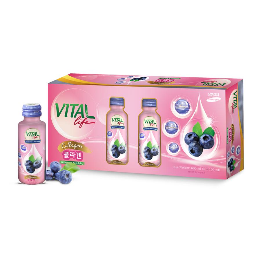 Hộp 6 Chai Nước Uống Collagen Đẹp Da Hàn Quốc Vital Life - Chiết Xuất Việt Quất
