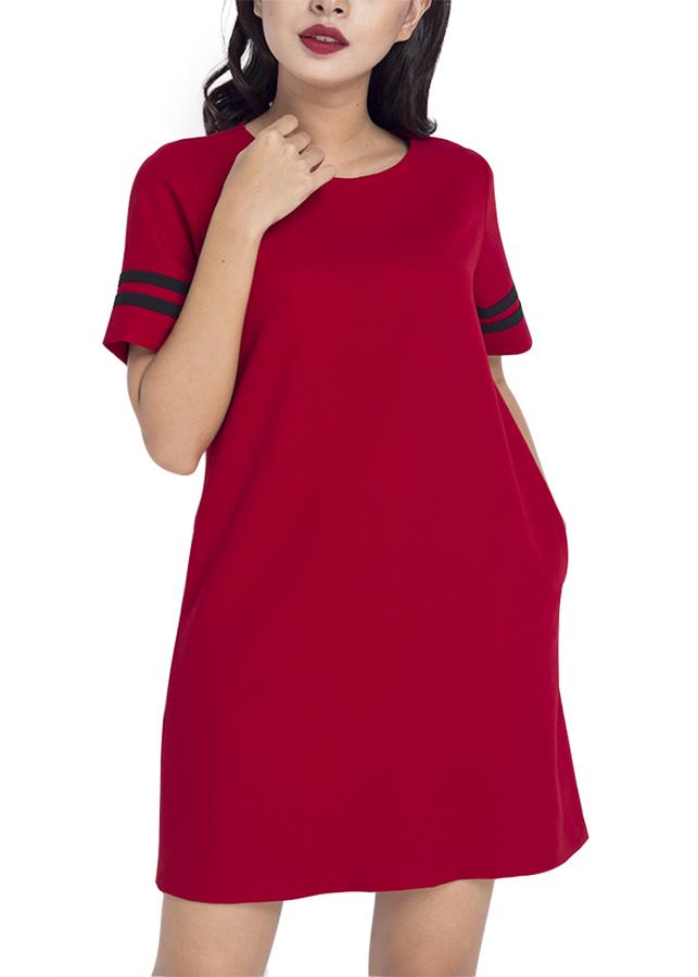 Đầm Suôn Phối Sọc Siskin 79890409 - Đỏ