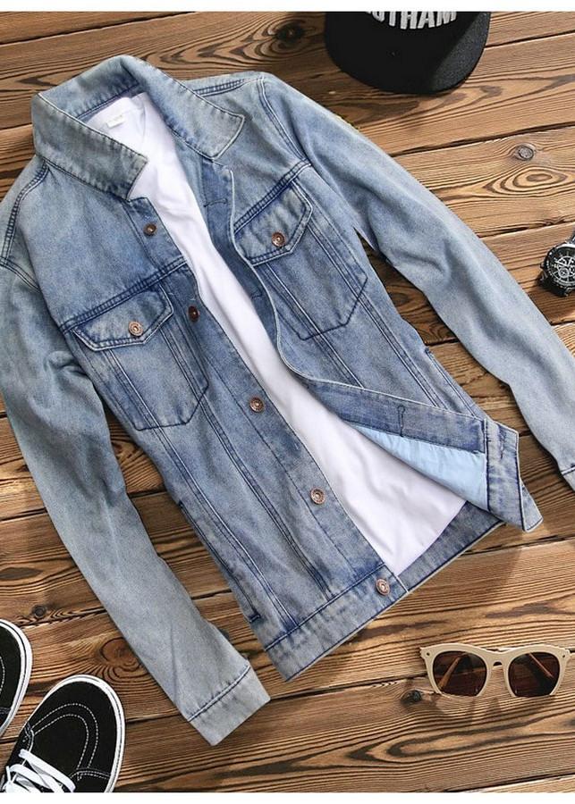 Áo khoác jeans nam xanh ôm   A355 MĐ