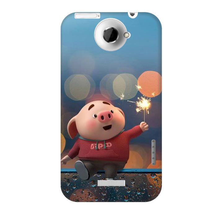 Ốp lưng nhựa cứng nhám dành cho HTC One X in hình Heo Pháo Bông