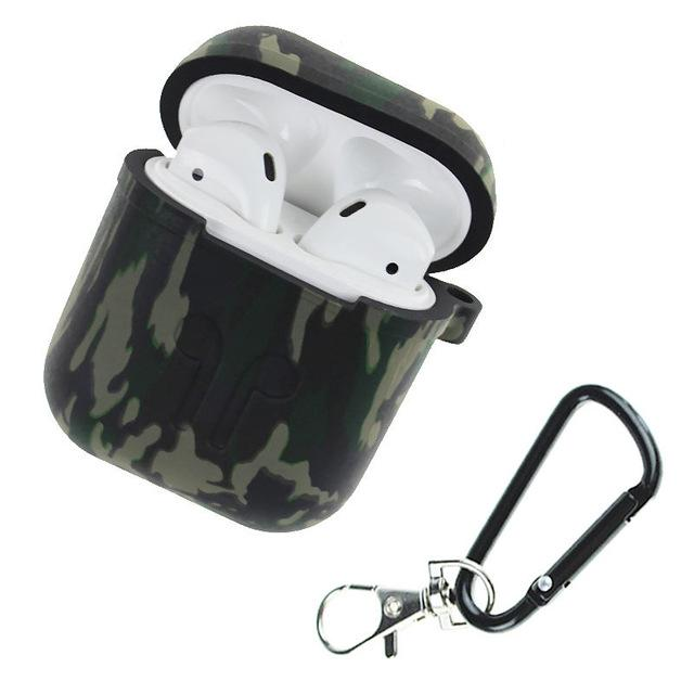 Camouflage Silicone Shockproof Protector Cover Case Carabiner for Airpods Case i10 i12 TWS Bluetooth Luminous Protector