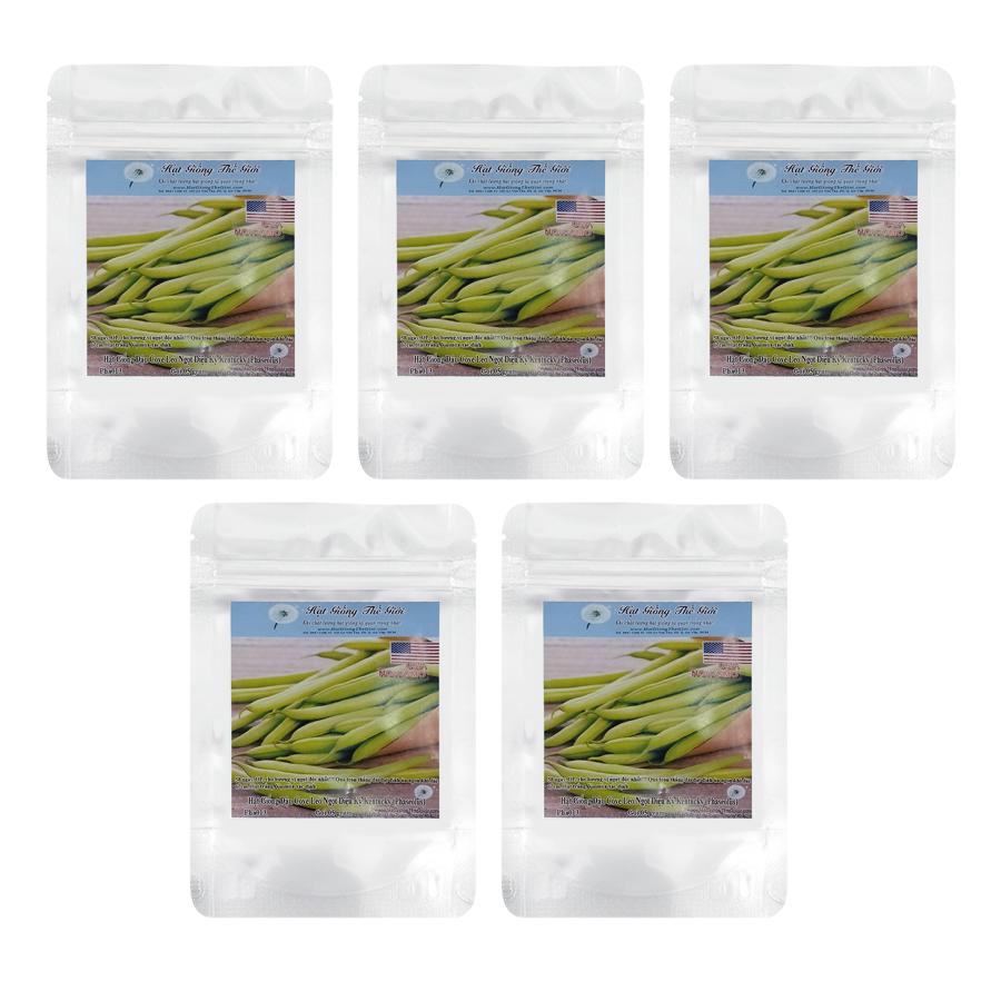Bộ 5 túi Hạt Giống Đậu Cove - Leo Ngọt Diệu Kỳ Kentucky (Phaseolus vulgaris) (5g / túi)