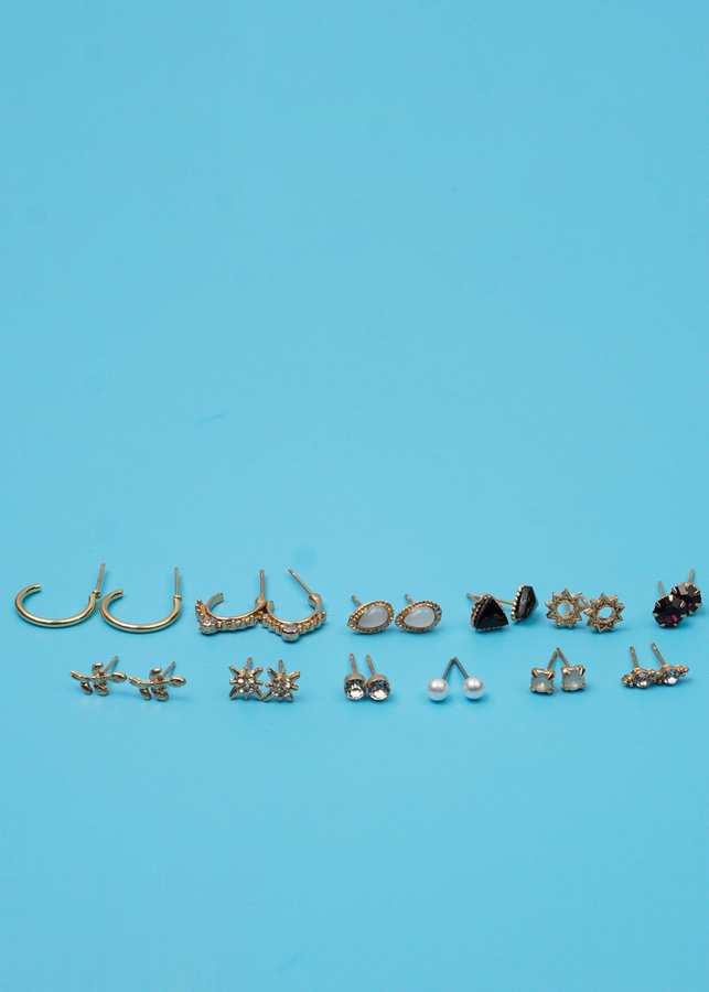 Bông Tai Set 12 Đôi Giọt Nước Đá Xám, Hình Tam Giác Đá Đen Mạ Vàng - Mã HT010