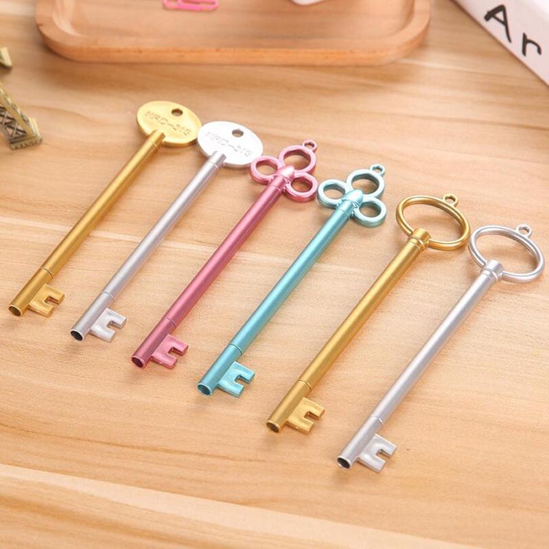 6Pcs/Set Cute Lovely Key Shaped BallPoint Pen Student School Home Office Writing