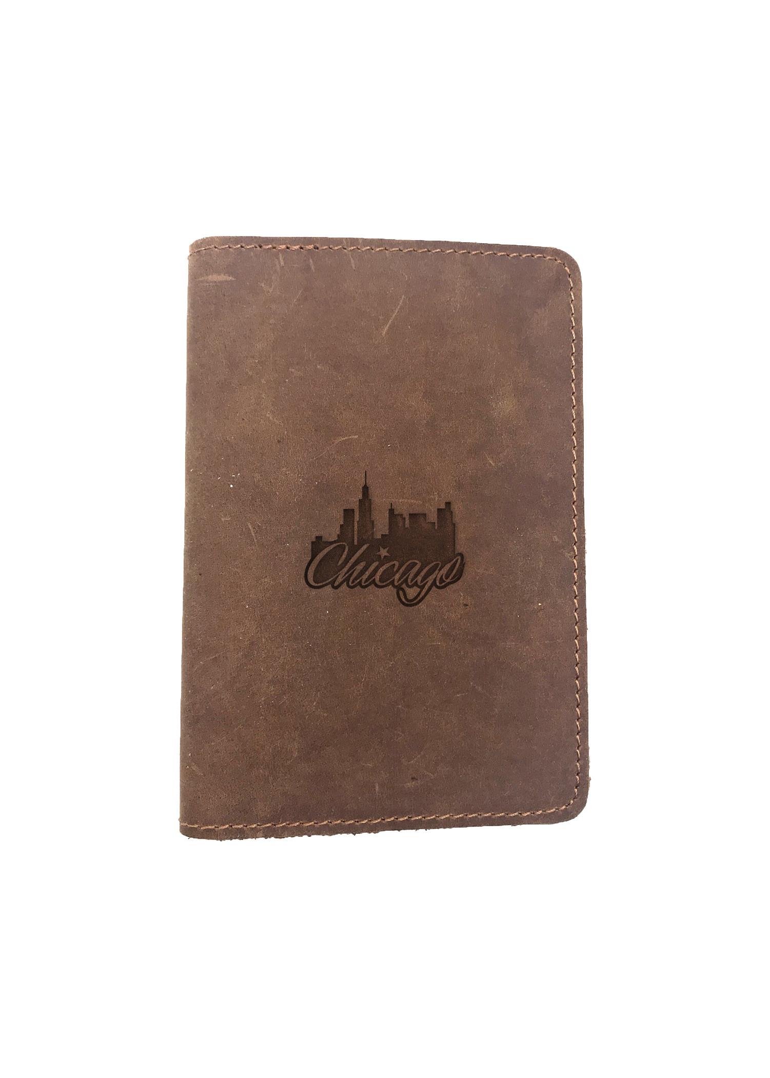 Passport Cover Bao Da Hộ Chiếu Da Sáp Khắc Hình Thành phố CHICAGO (BROWN)