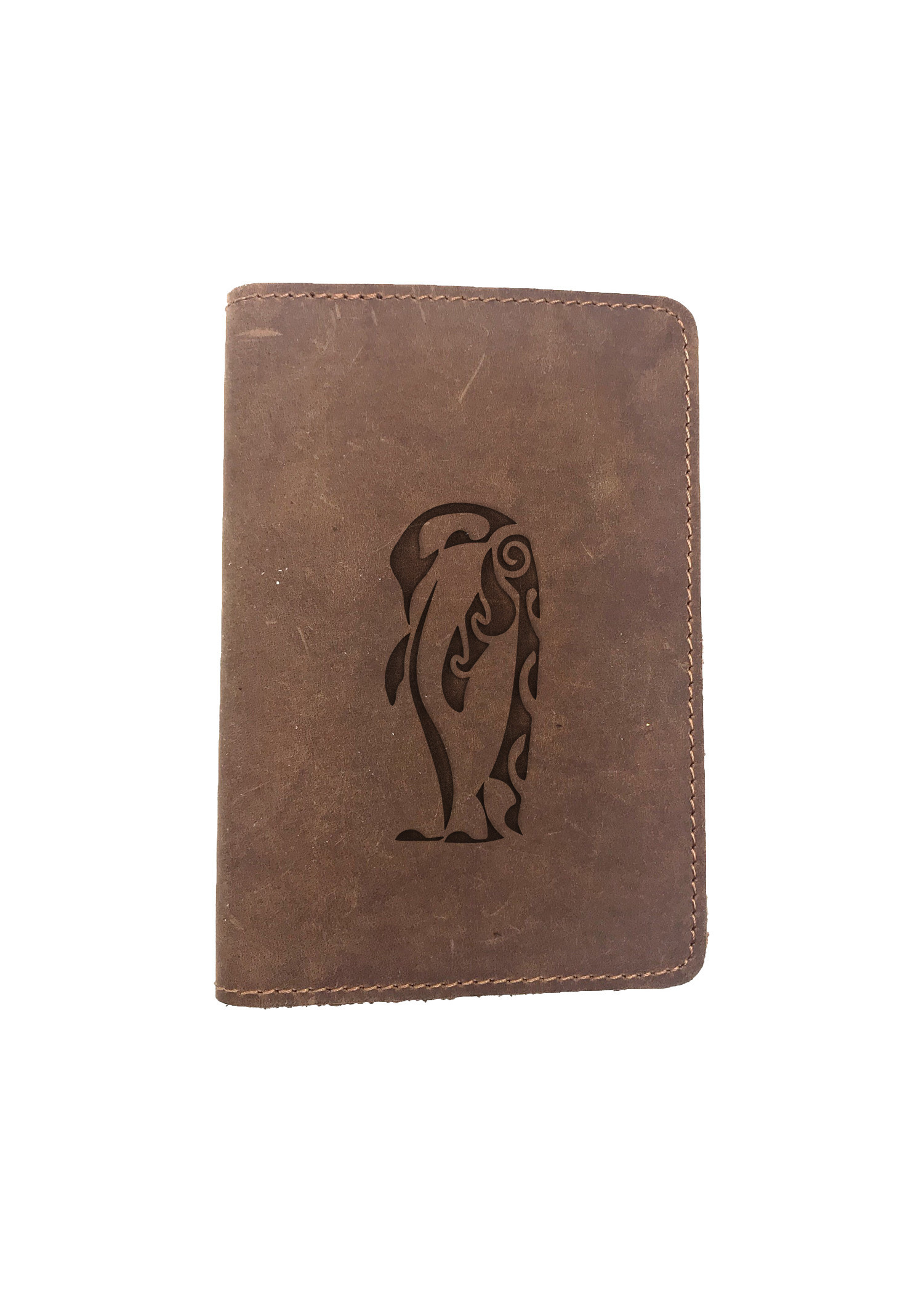 Passport Cover Bao Da Hộ Chiếu Da Sáp Khắc Hình Cánh cụt PENGUIN STENCIL ART (BROWN)