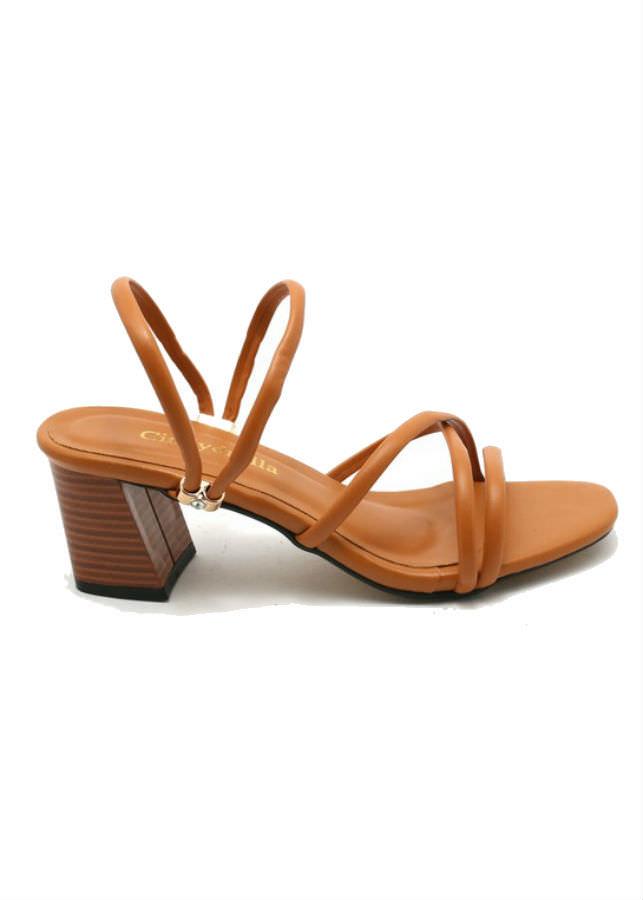 Giày Sandal Nữ Cao Gót Dây Cindydrella C126N - Nâu