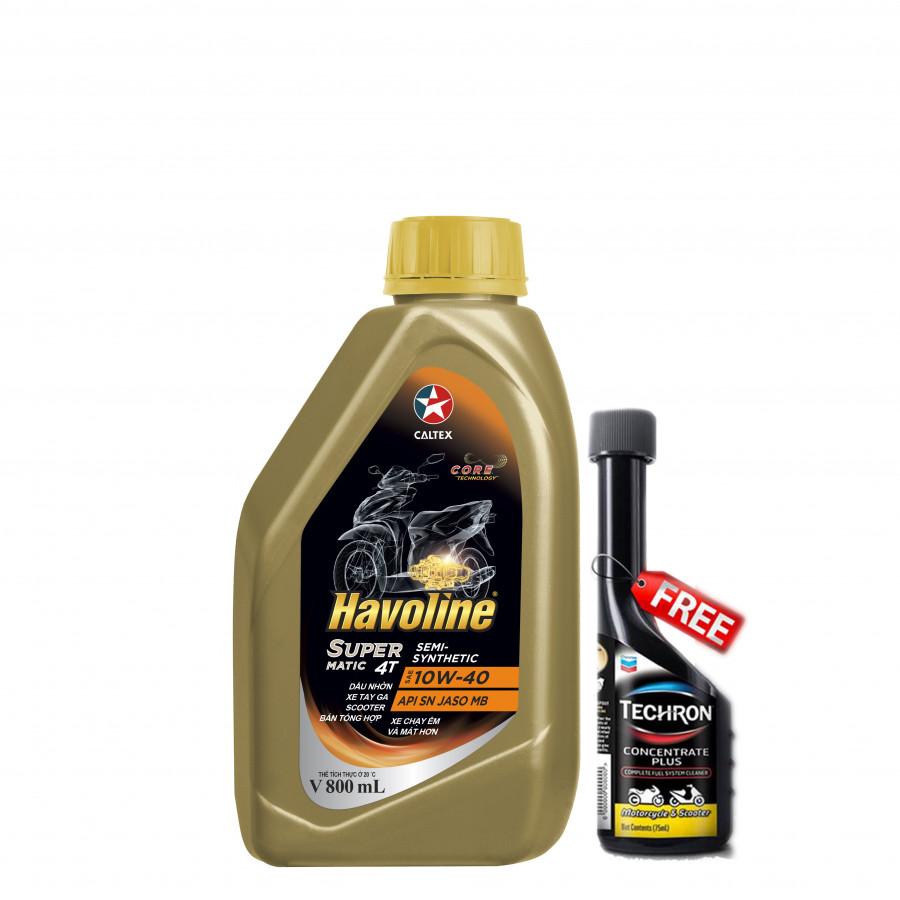 Combo dầu nhớt bán tổng hợp xe tay ga Caltex Havoline SuperMatic 4T Semi-Synthetic 10W40-0,8L tặng dung dịch vệ sinh buồng... - 775243 , 3561761138847 , 62_11082099 , 135000 , Combo-dau-nhot-ban-tong-hop-xe-tay-ga-Caltex-Havoline-SuperMatic-4T-Semi-Synthetic-10W40-08L-tang-dung-dich-ve-sinh-buong...-62_11082099 , tiki.vn , Combo dầu nhớt bán tổng hợp xe tay ga Caltex Havoline