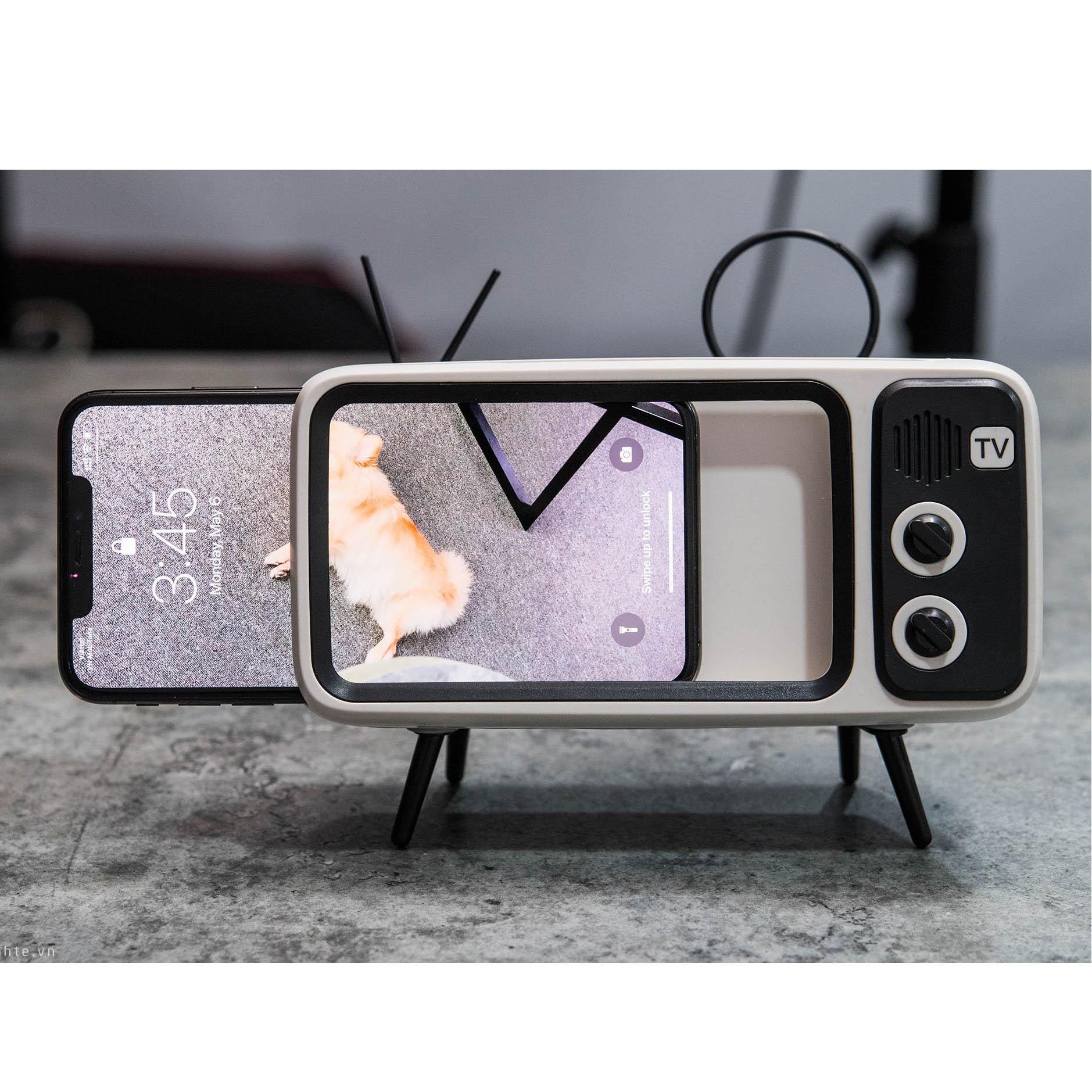 Loa bluetooth kiêm giá đỡ điện thoại hình tivi cổ điển (Giao màu ngẫu nhiên)