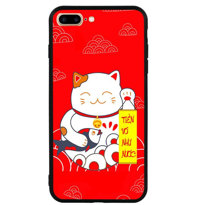 Ốp lưng viền TPU cao cấp cho Iphone 7 Plus - Mèo May Mắn 01